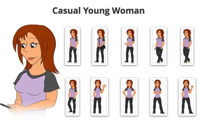Casual-Young-Woman-SVG-Preview